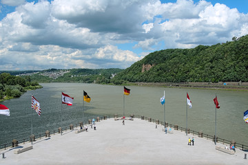 German Corner (Deutsches Eck) in Koblenz, Germany