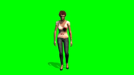 Zombi Girl walking dead walks - green screen