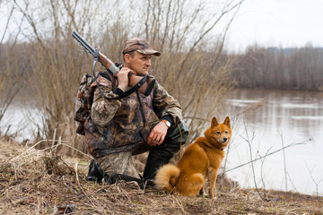 hunter with a dog