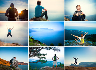 Tourist traveler in the mountains overlooking the sea, collage