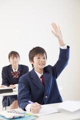 授業で手を挙げる男子中学生