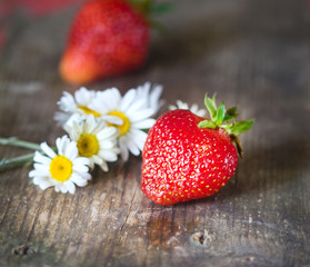 red strawberries and wild daisies