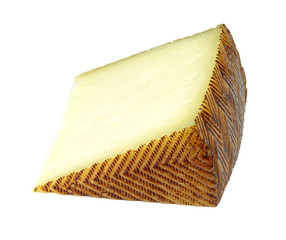 Spanish manchego cheese portion on isolated on white background