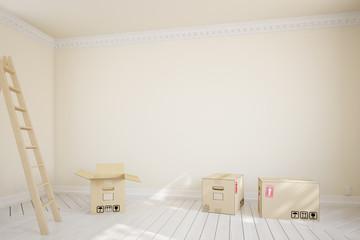 Umzugskartons in einem leeren Raum