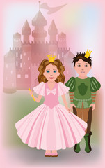 Cute little princess with prince, vector illustration