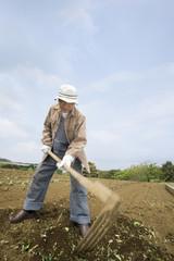 畑を耕すシニア男性