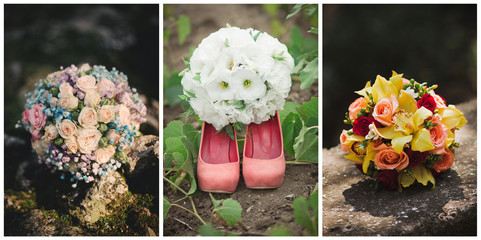 Collage of three photos of wedding bouquet