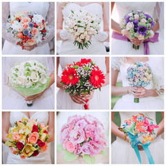 collage of nine photos of wedding bouquet