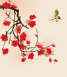 Plum blossom and butterfly, vectorized brush painting.