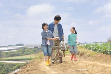 一輪車を押して歩く父と子供2人