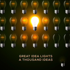 Idea concept, row of light bulbs.