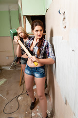 Attractive women with tools