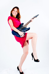 Funny woman with guitar