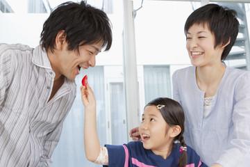 父にトマトを食べさせる娘と母