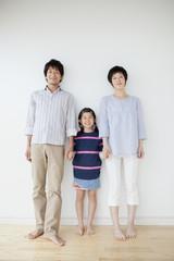 壁の前で立つ親子3人