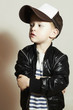 Fashionable little boy.Hip-Hop.fashion children.Child in Cap