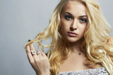 fashion portrait of Beautiful woman.Flirt Blond Girl.Enjoy