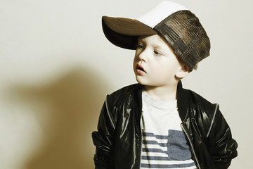Fashionable little boy.Hip-Hop Style.fashion child.Young Rapper