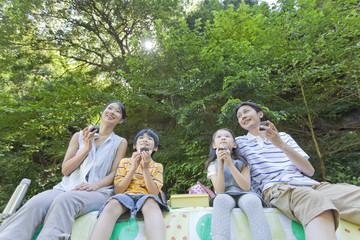 屋外で弁当を食べる家族4人