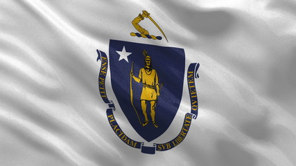 US state flag of Massachusetts waving in the wind - loop