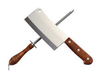Meat Cleaver & Sharpener. Clipping path