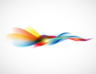 Abstract smooth colorful flow element horizontal on white