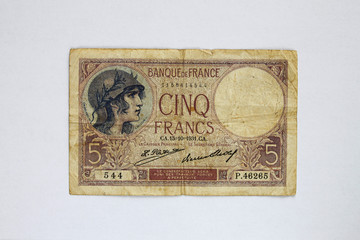 Fünf Frank_alte Banknote