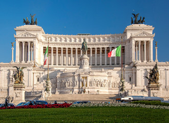 Vittoriano building on the Piazza Venezia in Rome, Italy