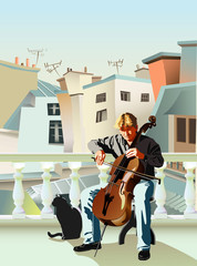 Cellist and cat