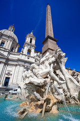 Fountain of the Four Rivers in Piazza Navona, Rome, Italy