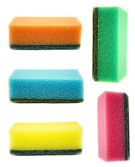 color sponges isolated on white