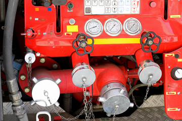taps and valves of trucks of firefighters with measuring gauges