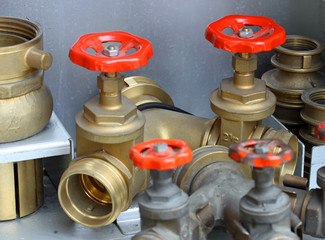 taps and fittings for hoses and fire trucks of firefighters