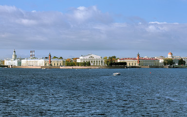View of the east side of Vasilievsky island in Saint Petersburg