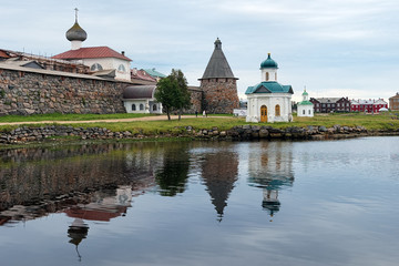 Western wall of Solovetsky monastery and chapels