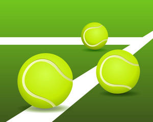 Tennis balls on the court. Vector illustration