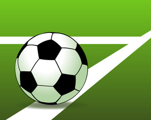 Soccer ball on the green field. Vector illustration
