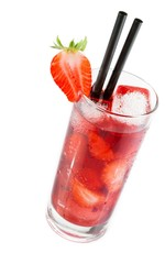 Strawberry cocktail with ice isolated with strawberry on top
