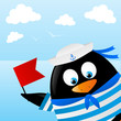 Cute penguin sailor on sea background