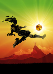 Brazil soccer player shooting the sun