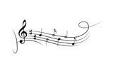 Musical symbols on the wavy lines