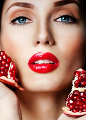 woman with Pomegranate. professional makeup