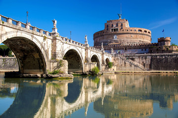 Angel Castle with Tiber river in Rome, Italy