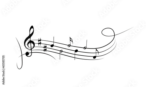 Musical symbols on the wavy lines - 65585705