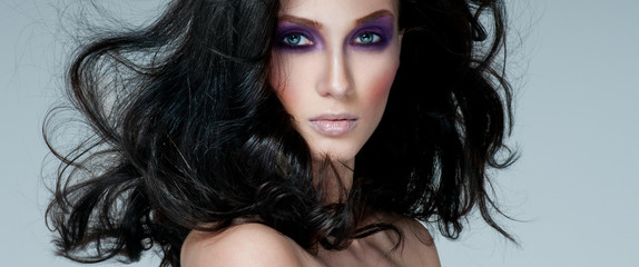 beautiful woman model with professional makeup