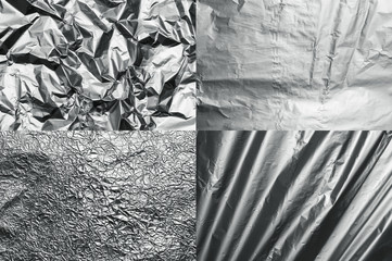 Set of four metal foil textures