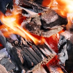 Bright Flames and Glowing Coals in BBQ
