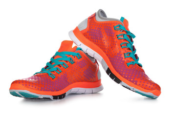 Orange sport shoes