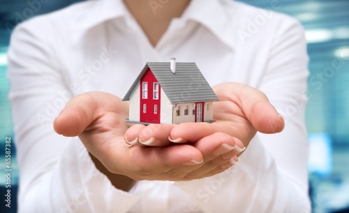 Fototapeta realtor deliver house - real estate concept