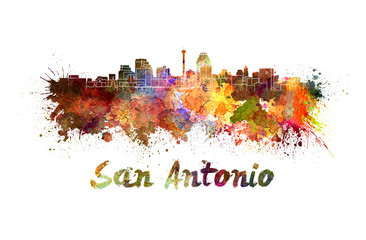 San Antonio skyline in watercolor